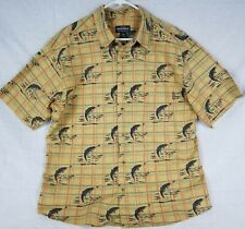 WOOLRICH Vintage Fly Fishing Lure Button Up short sleeve Shirt Size L Outdoors