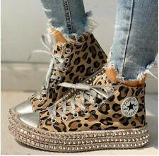 Leopard Rivet Embellished High Top Lace Up Sneaker. Euc. Women's 9