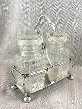 Antique Pickle Jar Cruet Silver Plate & Cut Glass Crystal Condiment Bottle Stand