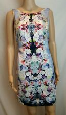 Forever New 10 12 Dress Blue Blossom Floral Print Sleeveless Casual Keyhole
