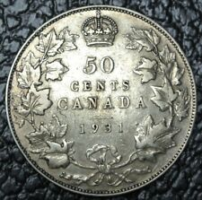 OLD CANADIAN COIN 1931 - 50 CENTS - .800 SILVER - George V - Nice DETAILS