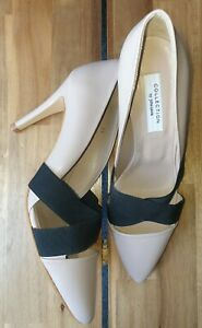 JOHN LEWIS COLLECTION BEIGE NUDE & BLACK ELASTICATED SHOES SIZE 6 39 WORN ONCE