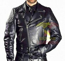 Mens Real Cowhide Bikers Jacket Quilted Panels Schwarz Cuir Lederhemd Gay