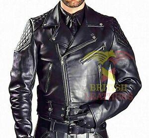 Mens Real Cowhide Bikers Jacket Quilted Panels Schwarz Cuir Lederhemd Gay