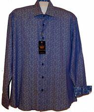 BERTIGO  Purple Blue Floral Design Cotton Men's Dress Shirt Size 5XL NEW $149
