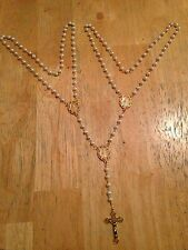 Vintage Catholic Wedding Rosary Lasso/Cord, White Pearls, Handmade