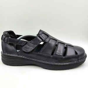 NEW Drew Springfield Black Leather Comfort Fisherman Sandals Men's 10.5 6E Wide