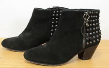 Ash Nevada Womens Sz 39 Side Zip Western Black Suede Studded Ankle Boots Booties