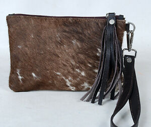 """Real Cowhide Leather Wristlet Clutch Wallet Double Side Hairon 8.5""""x5.5"""" RW-7117"""