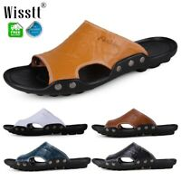 Fashion Summer Beach Men Casual Leather Sandals Shoes Outdoor Anti-slip Slippers