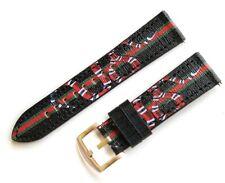 Designer Black Kingsnake Leather Watch Bands Straps 22mm Samsung Gear S3 Fossil