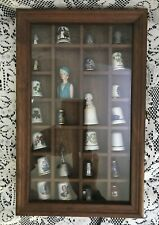 Thimble Collection with Glass Front Display Case & 25 Assorted Thimbles