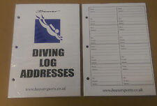 Brand New Beaver Address Sheets for a Log Book 50 Sheets Scuba Diving Records