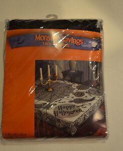 Halloween Black  Lace Table Cloth 60 X 84 NIP Happy Halloween