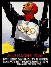 SPORT ADVERT 1936 WINTER OLYMPIC GAMES GERMANY BAVARIA ART POSTER PRINT LV7460