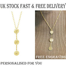 Personalised Gold Plated Y Necklace Initial Disc Letter Name Birthday Gift UK