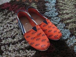 Womens Shoes Canvas Slip On Sz Small (5/6) Orange Blue DENVER BRONCOS Loafers