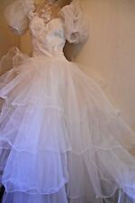 Molto splendida strato bianco vintage Net VICTORIAN RIDING Abito Glamour Abito 10
