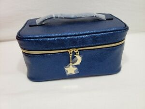 New Neiman Marcus Exclusive Estée Lauder Blue Faux Leather Train Cosmetic Case