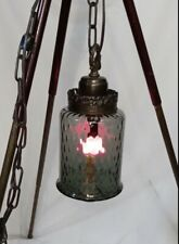 """🖤🖤Vintage Grey Glass """"Med� Swag Lamp/Hanging Light W/Chain Fixture🖤🖤"""
