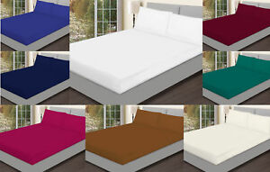 Plain Fitted Bed Sheets Extra Deep 25 cm 100% Cotton Poly Single 4FT Double King