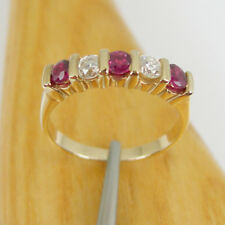 Natural Ruby & Diamonds Five Stone Eternity Band Ring Genuine 375 9k Yellow Gold