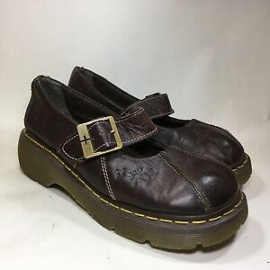DR. MARTENS Docs Womens Mary Jane Shoes Brown Leather One Buckle Strap 8  12277