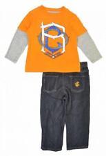 Rocawear Toddler Boys L/S Orange Top 2pc Denim Pant Set Size 2T $46