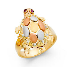 Women 14k Yellow White Rose Real Gold CZ Ruby Turtle Empty Sell Ring Band