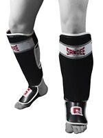 Sandee Sport Shinguards Shin Guard Black White Muay Thai Boxing Kickboxing Fight