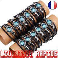 12 Constellations Cuir Zodiaque Signe Perles Bracelets Homme Bijoux Accessoires