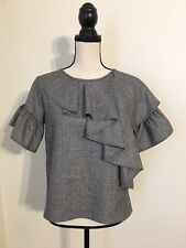 New J Crew Collection Ruffle Top in Glen Plaid CHARCOAL IVORY Sz 2 G8402