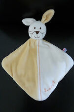 58- DOUDOU SUCRE D'ORGE LAPIN MOITIE JAUNE  BLANC -  NEUF *