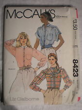 McCall's Women's Shirts And Scarf Pattern# 8423 Size 8 Liz Claiborne 1983