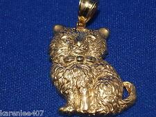 Cat Pendant Fluffy Cat Diamond Eyes  14 kt Yellow Gold  NEW