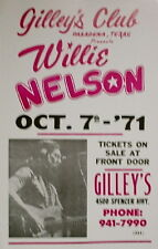 "Willie Nelson Concert Poster - 1971 - Gilley's Club - Pasadena, TX - 14""x22"""