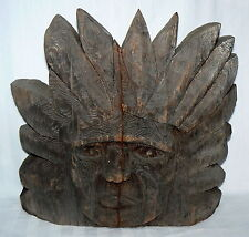 "HANDCRAFTED WOOD INDIAN CHIEF HEAD VINTAGE WOODEN CARVED FEATHER DRESS 16"" X 17"""