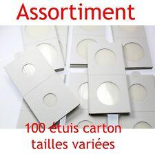 Assortiment de 100 étuis carton autocollants pour pièces de monnaie en Franc