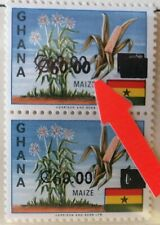New listing Ghana 1988 Surcharge Pair Top Stamp Double M.N.H.