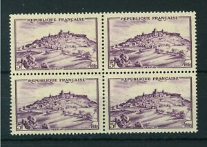 France 1946 Views 5f mauve block of 4 stamps. MNH. Sg 976.