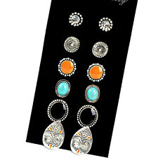 6 Pair/Set Bohemia Ethnic Rhinestone Crystal Earrings Set Ear Stud Various HIGH