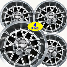 FOUR Golf Cart RIMs WHEELs 12x6 4/4 3+3 RHOX RX284-MS Machined Silver Aluminum