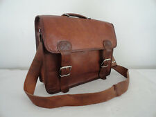 "Mens Leather Messenger Bag 15.6"" Laptop Satchel Briefcase School Shoulder Bag"