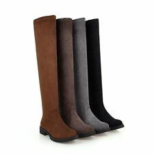 Womens Over The Knee High Thigh Flat Ladies Long Suede Low Heels Boots Size 4-11