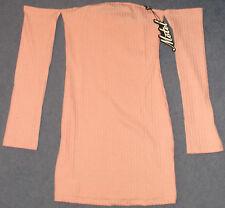 Motel Rocks Marina Rib Knit Bodycon Dress Blush BNWT Size: Small RRP £38