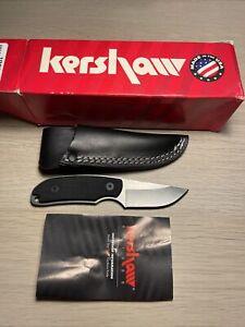 Kershaw 1080 Fixed Blade Skinning Knife w/ Leather Sheath USA Discontinued
