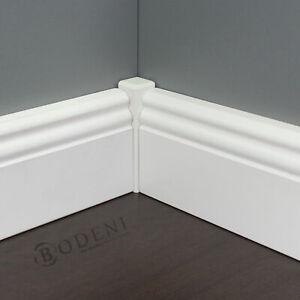 Eckturm weiß lackiert | Außenecke Innenecke | Ecktürme Sockelleisten weiß 105 mm