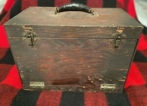 Antique Wood Handmade Machinist Carpenter Tool Box w/ Drawer W/ Lift Top Leather