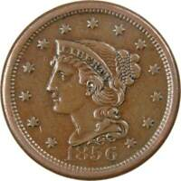 1856 Upright 5 1c Braided Hair Large Cent Penny Coin XF EF Extremely Fine