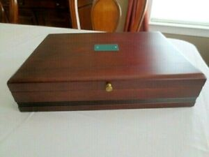 Reed & Barton Flatware Wooden Storage Chest with Engraving Plate